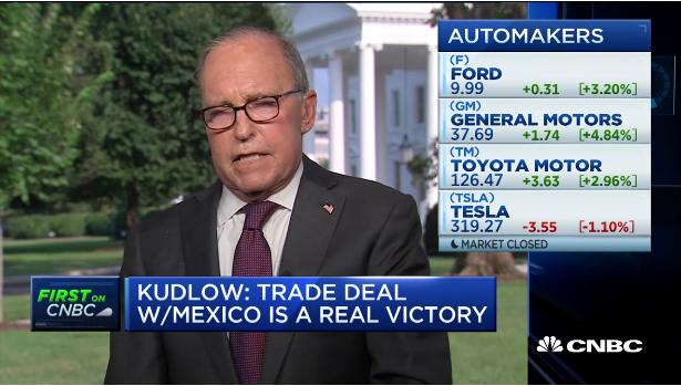 库德洛在CNBC谈美墨协定(视频截图)