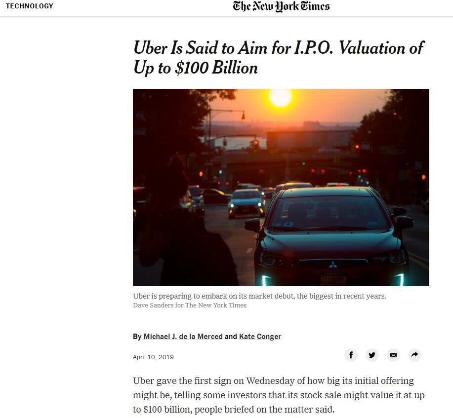 全球财经新闻头条优步将IPO估值目标降至最多1000亿美元