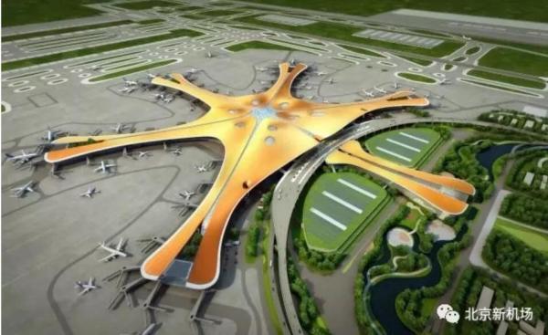 图:北京大兴国际机场俯视效果图,来源:北京新机场微信公众号