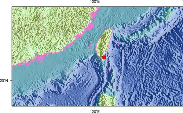 4月27日13时55分台湾台东县海域发生4.2级地震
