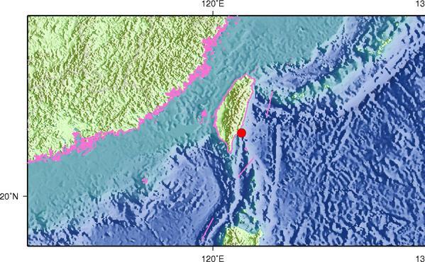5月31日9时3分台湾台东县海域发生4.9级地震
