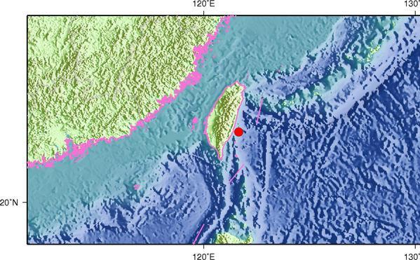 4月21日18时56分台湾台东县海域发生4.0级地震