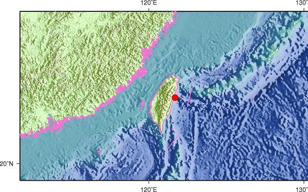 6月12日4时52分台湾花莲县海域发生4.6级地震
