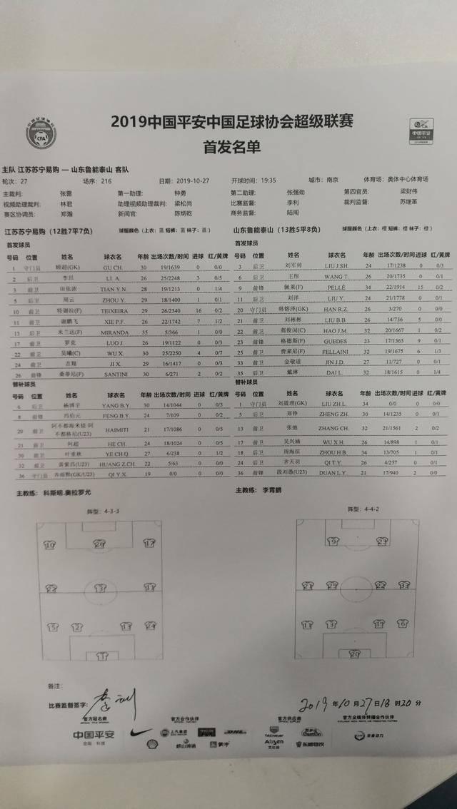 「快讯」苏宁VS鲁能首发出炉,苏宁特谢拉桑蒂尼PK鲁能三杆洋枪