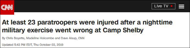 美军23名伞兵跳伞训练时受伤