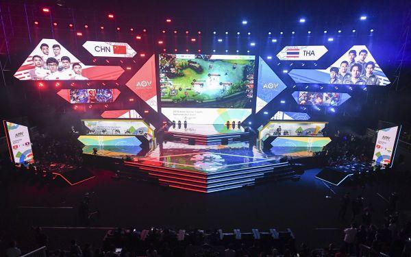第18届亚运会电竞项目比赛现场。(新华社)