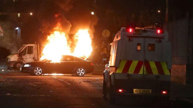 北愛爾蘭西北部,騷亂爆發現場。圖/BBC