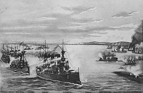 ▲这幅画描绘了马尼拉湾海战的部分情景。(维基百科)