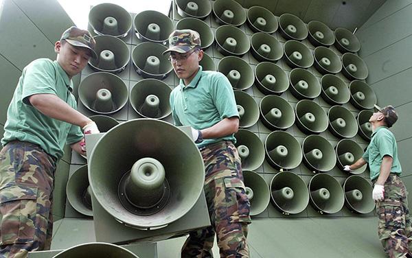 韓國對朝鮮喊話用的擴音器。東方IC 資料