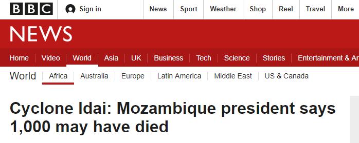 飓风肆虐非洲南部 莫桑比克总统:或致千人死亡