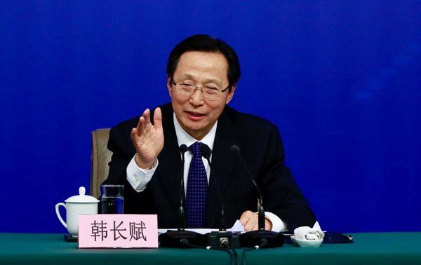 农业农村部部长、中央农办主任韩长赋。  澎湃新闻记者 赵昀 图