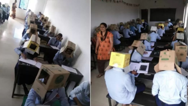 神操作!印度学生考试头戴纸箱防作弊 教育局大发雷霆 舆论炸开锅