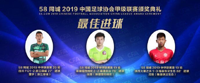官方:董宇、张奥、沈并列获得中甲最佳进球