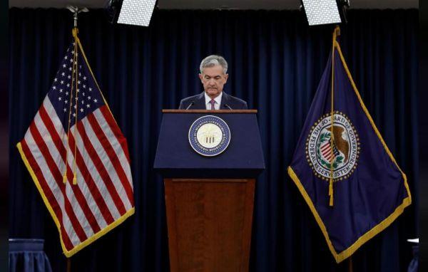 2018年6月13日,美国华盛顿,美联储主席鲍威尔出席政策会议后的记者会。(路透社)