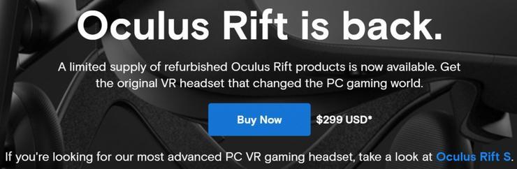 仅299美元 Facebook 开售翻新版 Rift CV1