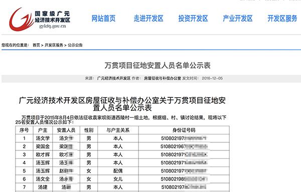 四川广元经济技术开发区官网2016年12月发布的《万贯项目征地安置人员名单公示表》未对25名安置人员的身份证号码做任何遮蔽处理,完整公布在网上。图片系澎湃新闻基于保护隐私需要打码,原页面没有打码。