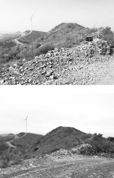 赵长城遗址曾立有一块文保石碑,如今(右)已不见踪影