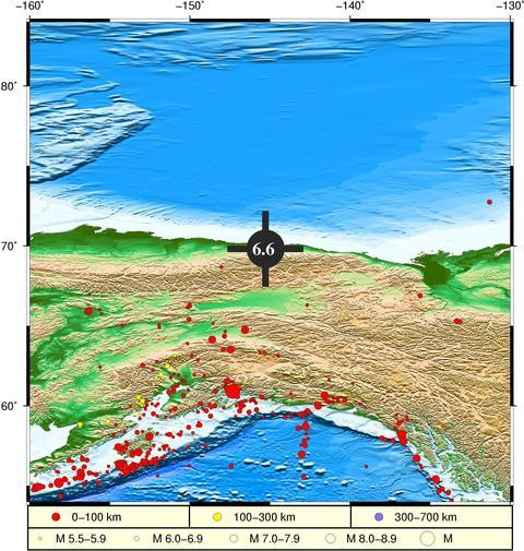 美阿拉斯加州北部海域发生6.6级地震 或引发海啸