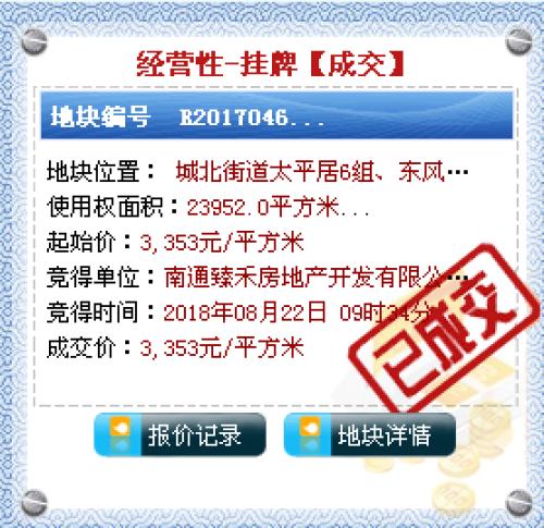 南通臻禾房地产8031万元斩获如皋R2017046地块