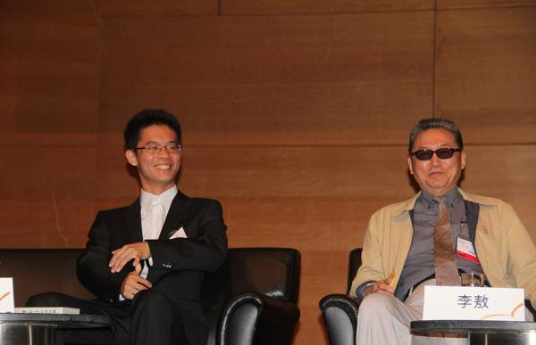 2014年7月,香港,李敖和他的儿子李戡出席活动。东方IC 资料图