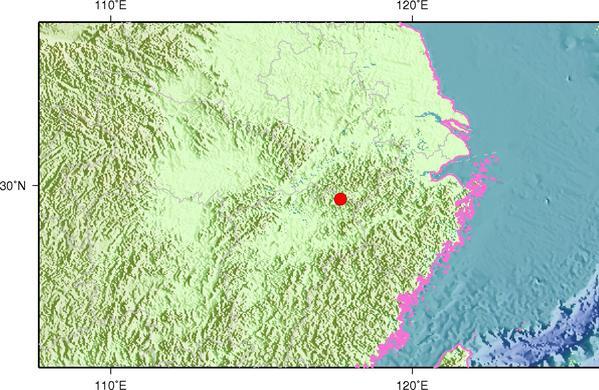 7月2日9时55分江西景德镇市浮梁县发生3.6级地震