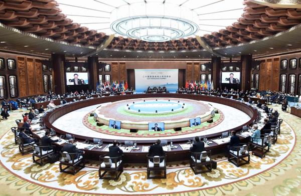 2016年9月4日,二十国集团领导人第十一次峰会在杭州举行。国家主席习近平主持会议并致开幕辞。 新华社记者 李涛摄
