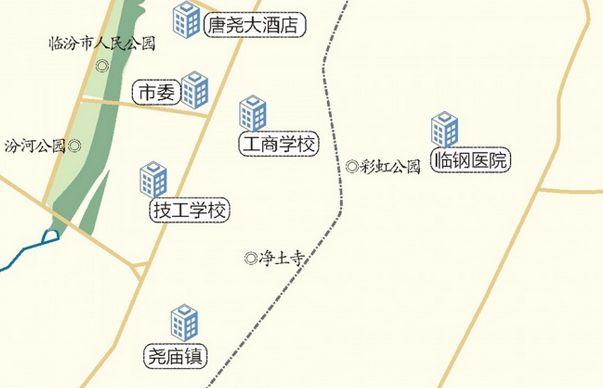 ▲临汾市区内的6个国控站点。