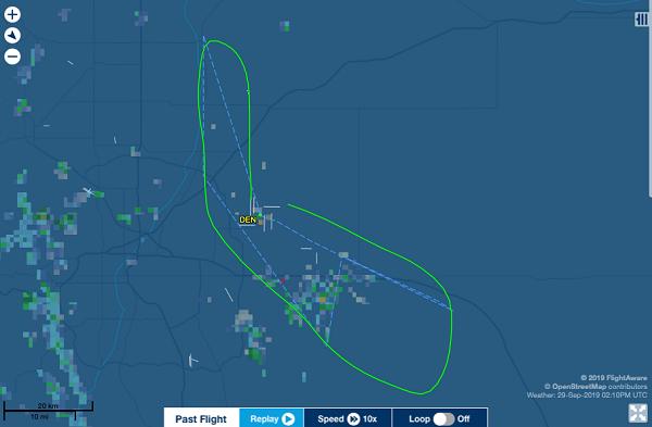 飞机的飞翔线路图(图源:推特)