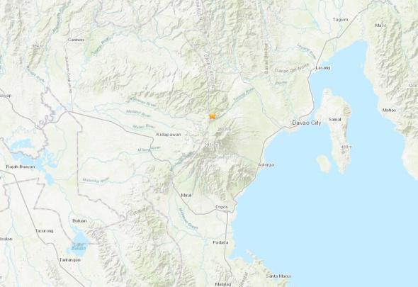 菲律宾棉兰老岛发作6.8级地动。(图片滥觞:好国天量勘察局网站截图)