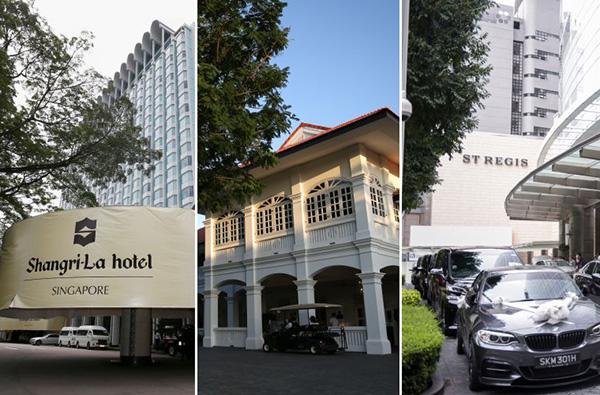 新加坡香格里拉酒店、嘉佩乐酒店、瑞吉酒店(左起)。海峡时报 图