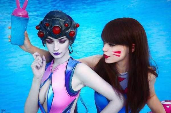 美百合COS《守望先锋》照片黑性感性感泳装琪荣耀王者尤物少女琪图片