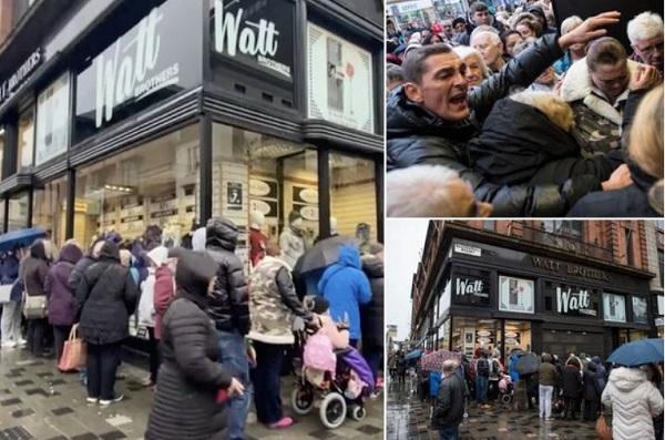 英国数百人雨中排队等百货公司清仓甩卖 发现未降价愤然离去