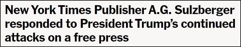 《纽约时报》2月回应特朗普的声明