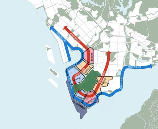 空间结构规划图   规划构建了两带一港七版块的空间结构,其中两带指滨海生态文化带和城市综合服务功能带,通过多层级公共服务设施和多类型产业服务功能集聚,为打造一个融合山、海、林、城、岛、港、湾多元素的世界级城市新中心奠定基础;   一港指蛇口国际枢纽港,通过港口资源优化配置,建设成为国际集装箱枢纽港和亚太国际邮轮母港;   七版块包括桂湾、前湾、妈湾、邮轮母港、蛇口、赤湾、大小南山等7个版块,因地制宜地打造主导功能差异、产业协同创新、产城融合集聚的城市发展组团。   总体布局