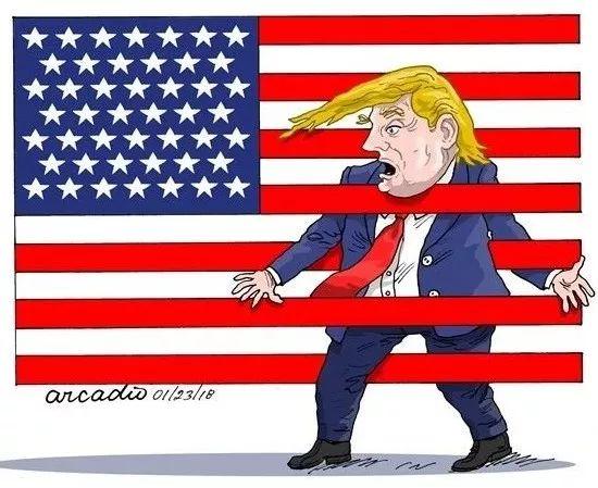 ▲[难以自拔]美国总统特朗普任期第二年面临诸多难题。(美国政治漫画网)