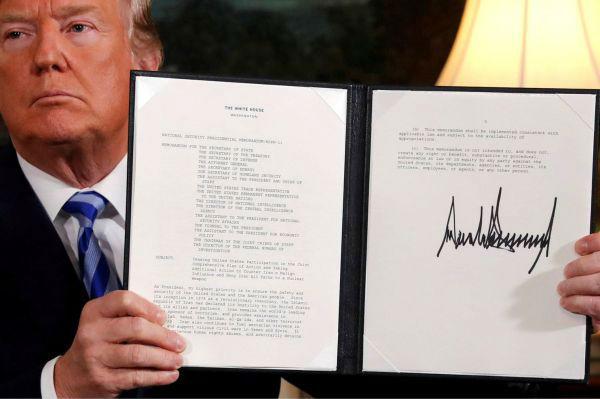 5月8日,特朗普在白宫签署声明,宣布他打算退出伊朗核协议。(路透社)