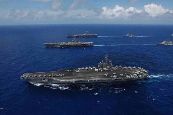资料图片:美海军三航母编队。(图片来源于网络)
