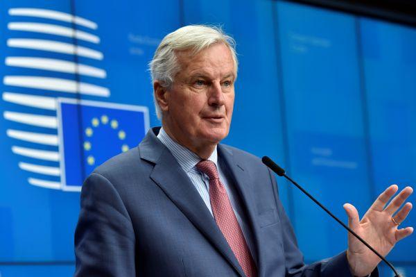 欧盟始席议和代外米歇尔·巴尼耶19日在布鲁塞尔出席记者会(路透社)
