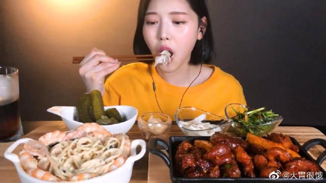 Boki吃播大虾奶油意面和猪蹄,看的我都快流口水了!