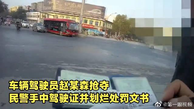 河南货车司机抢处罚书抗法,民警警告无效果断使用催泪喷剂