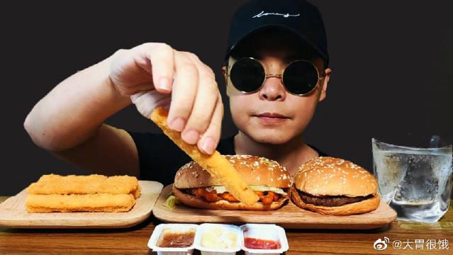 墨镜哥今天吃香辣鸡条、芝士牛肉汉堡和果木烤鸡腿堡