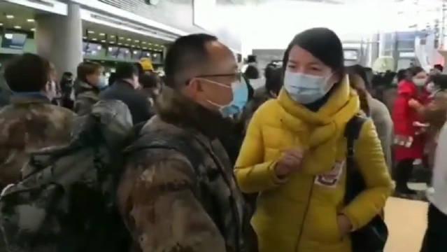 2月19日上午,上海一批医疗队在上海虹桥机场集合出发支援湖北