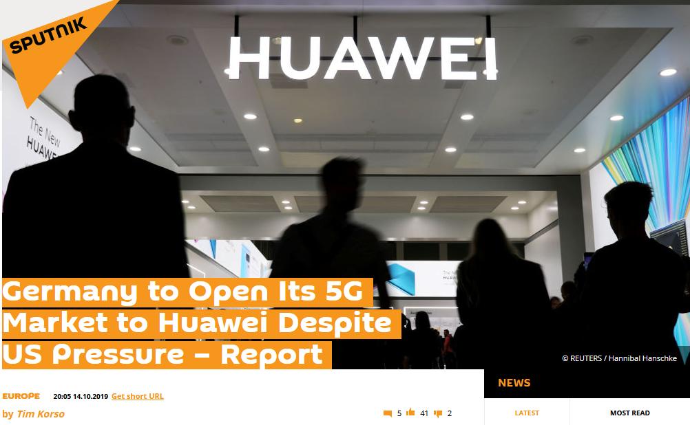 俄媒:忽略美国施压 德国计划向华为开放5G市场