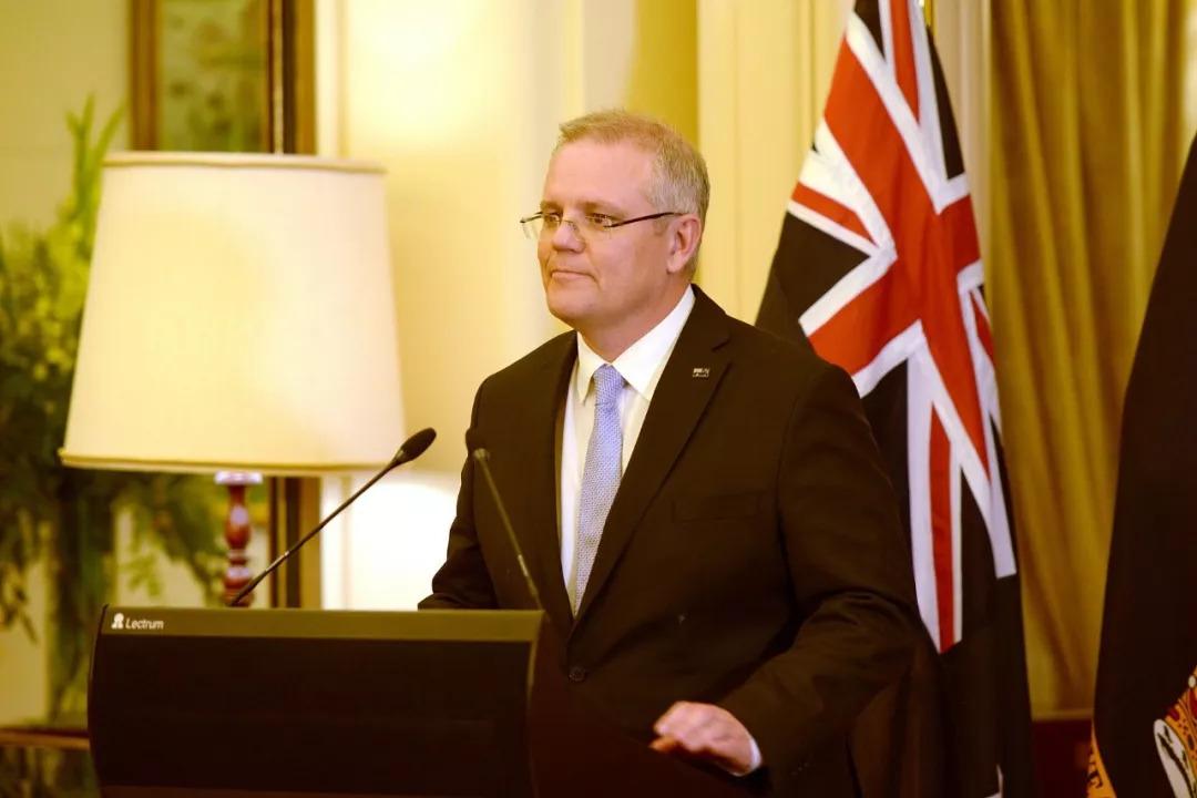 当地时间8月24日,澳大利亚新任总理莫里森宣誓就职(图片来源:视觉中国)