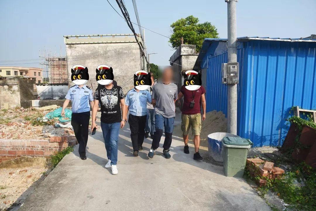 犯罪嫌疑人黎鸿某被抓获。 图片来源:中山市公安局