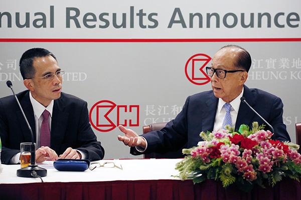 2016年3月17日,香港,香港首富李嘉诚旗下的长江实业地产有限公司(01113.HK)发布2015年全年业绩。