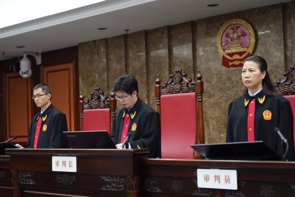 审判长宣读判决书 本文图片均来自南宁中院微信公号