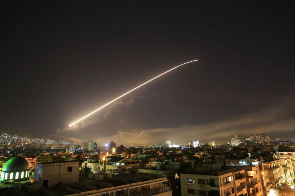 4月14日拍摄的遭受袭击的叙利亚首都大马士革。(/美联社)