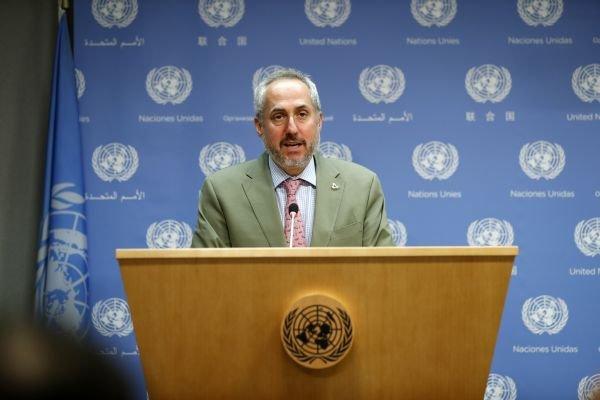 资料图:联合国秘书长对美国宣布退出伊核协议表示严重关切。2018年5月8日,在位于纽约的联合国总部,联合国秘书长发言人迪雅里克宣读古特雷斯的声明。 新华社记者李木子摄