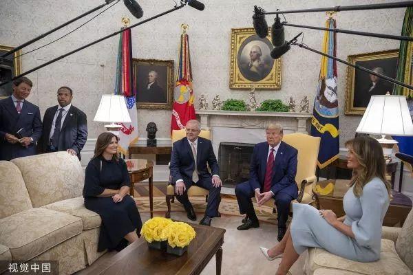 ▲当地时间9月20日,川普在白宫会见莫里森。